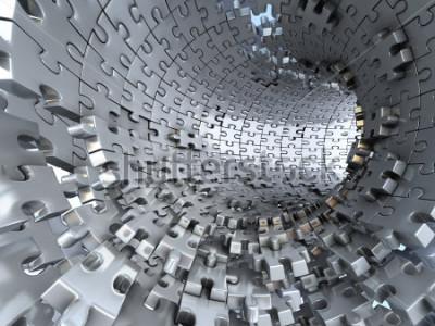 Papiers peints Tunnel fait de puzzles métalliques. Illustration 3d conceptuelle,