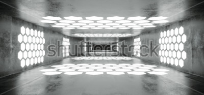 Papiers peints Tunnel vide concret futuriste de Sci Fi de vaisseau spatial de Grunge avec des lumières blanches rougeoyantes en forme de l'hexagone avec la fin noire Illustration de rendu de la fin foncée noire
