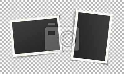 Papiers peints Two, pair vintage photo frames without adhesive tape. Scrapbook design. Vector illustration of picture frame templates on transparent background for photos. Photorealistic EPS10 mockups with shadow.