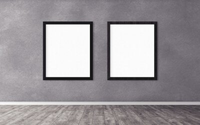 Papiers peints Two white posters with frame on wall. Mock up for you design preview. Good use for advertasing materials.