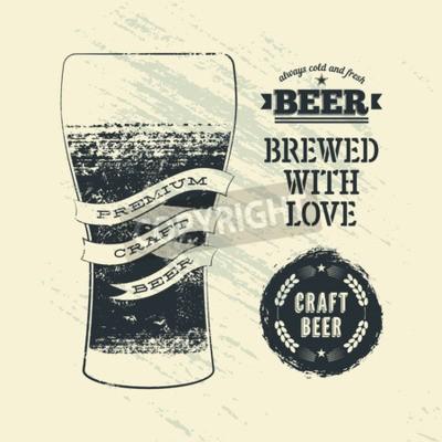 Papiers peints Typographie, vendange, grunge, style, bière, affiche, verre, bière. Illustration vectorielle.