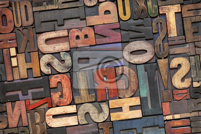 Papiers peints typographique type de bois à patine d'encre