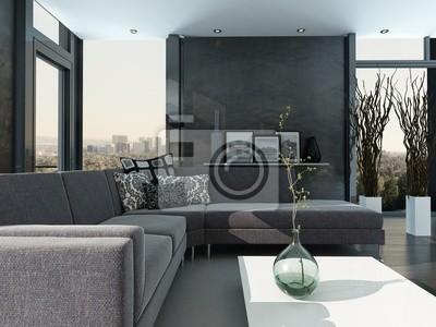 Papiers peints: Ultramoderne loft salon intérieur