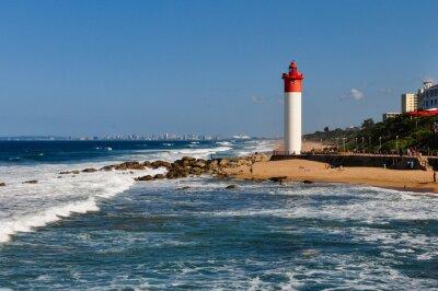 Papiers peints Umhlanga Leuchtturm avec Durban als Hintergrund; Südafrika