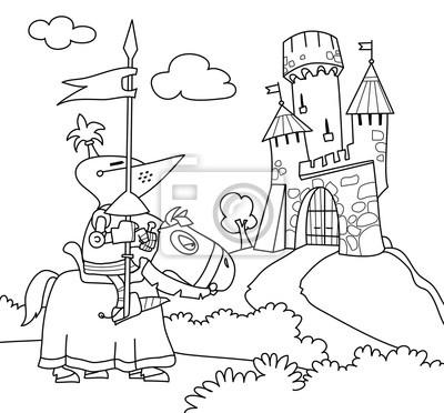Coloriage Chateau Cheval.Un Chevalier Errant Sur Un Cheval A Proximite Du Chateau Coloriage