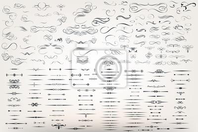 Papiers peints Un énorme ensemble ou une collection de fleurs de filigrane vectoriel pour le design