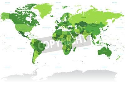 Papiers peints Un haut vecteur de détail Carte du monde dans les nuances de vert. Tous les pays sont nommés avec le nom anglais respectif.