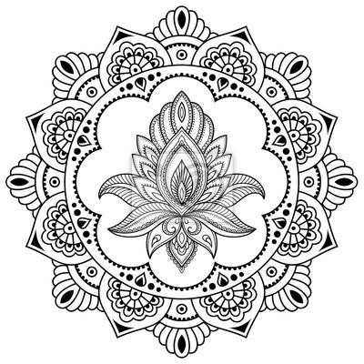 Un Motif Circulaire Sous La Forme Dun Mandala Modele De Fleur Papier Peint Papiers Peints Folklorique Boheme Arabesque Myloview Fr