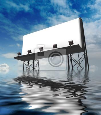 un panneaux d'affichage clair construction debout dans l'eau