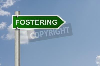 Un signe de route américaine avec un fond de ciel et le mot Favoriser, Foster Care This Way