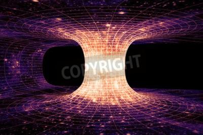 Papiers peints Un trou de ver, ou Einstein-Rosen Bridge, est un raccourci hypothétique reliant deux points séparés dans l'espace-temps.