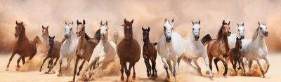 Papiers peints Un troupeau de chevaux courir sur la tempête de sable