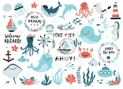 Papiers peints Under the sea set  cute whale, narwhal, ship, lighthouse, anchor, marine plants and wreaths, quotes and other.  Perfect for scrapbooking, greeting card, party invitation, poster, tag, sticker kit.
