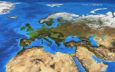 Papiers peints Une carte du monde haute résolution centrée sur l'Europe