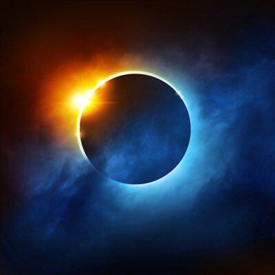 Papiers peints Une Eclipse Totale du Soleil. Éclipse solaire dramatique illustration.