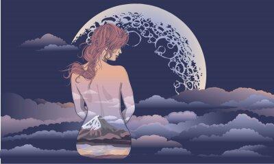 Papiers peints Une fille romantique est assis sur le fond de la lune. Body art girl, corps peint avec des paysages. Fille romantique sur le fond de la lune et le tatouage du ciel stellaire et conception de t-shirt.