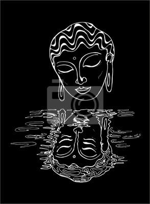 Une Illustration Dun Bouddha Et Son Reflet Dessin Noir Et Blanc