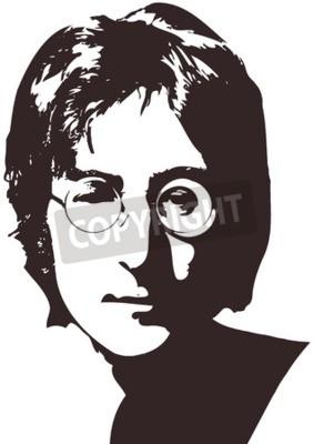 Papiers peints Une illustration vectorielle d'un portrait du chanteur John Lennon sur fond blanc. Format A4, Eps 10 sur couches