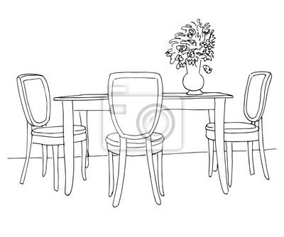 Charmant Papiers Peints Une Partie De La Salle à Manger. Table Et Chaises. Au Vase