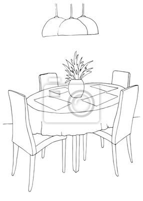 Papiers Peints Une Partie De La Salle à Manger. Table Ronde Et Chaises. Au