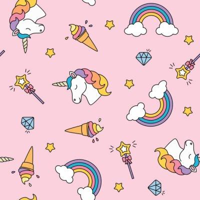 Unicorn Arc En Ciel Et Baguette Magique Couleurs Pastel Seamless