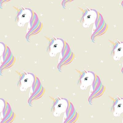 Unicorn Seamless Pattern Licornes Avec La Criniere Et Le Cor Papier