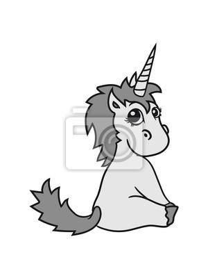 Unicorn Unicorn Poulain Doux Mignon Assis Comique Dessin Anime