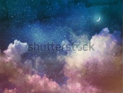 Papiers peints Univers rempli d'étoiles et de lune. Aquarelle