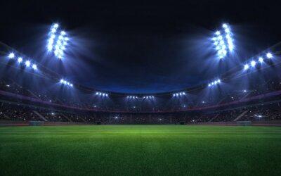 Papiers peints universal grass stadium illuminated by spotlights and empty green grass playground, grand sport building digital 3D background advertisement background illustration