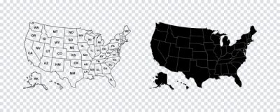 Papiers peints USA map states. Vector line design. High detailed USA map. Labeled with postal abbreviatations. Stock vector.