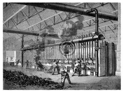 Papiers Peints Usine 19e Sicle Charbon Distillation