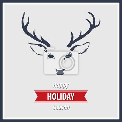 Vacances Carte de voeux avec renne