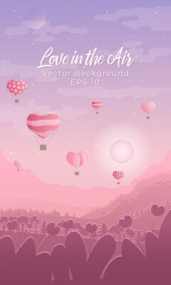 Papiers peints Valentines day vertical vector background with landscape with silhouettes of air ballons in the sky,mountains and forest and town in pink and violet colours and grain texture.