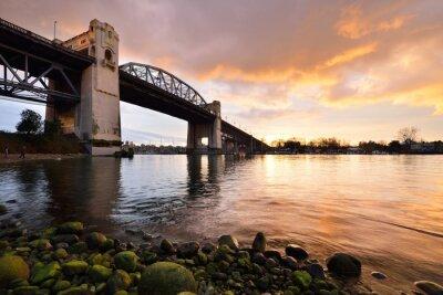 Papiers peints Vancouver, historique, Burrard, pont, hiver, Coucher soleil