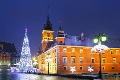 Papiers peints Varsovie, Place du Château dans les vacances de Noël