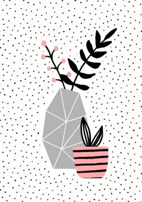 Vase en béton et pot rose