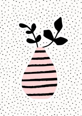 Vase rose avec branches