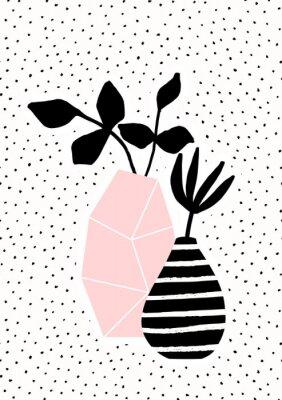 Vase rose et rayé avec branches