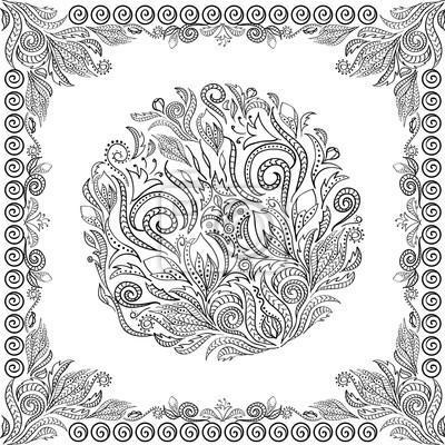 Papiers Peints Vecteur Coloriage Livre Adulte Enfants Doodle Fleurs Zentangle