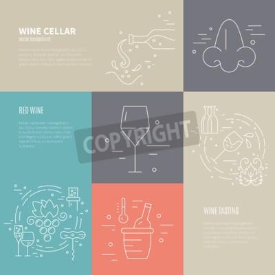 Papiers peints Vecteur, concept, vin, confection, processus, différent, vin, industrie, Symboles, inclure, verre, raisin, bouteille, corckscrew, Le fond parfait pour la conception vin-apparentée.