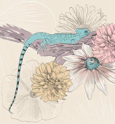 Papiers peints Vecteur, croquis, lézard, mignon, fleurs