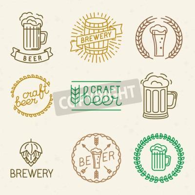 Papiers peints Vecteur de la bière artisanale et des logos de brasserie et de signes dans le style linéaire à la mode - insignes mono ligne et des emblèmes avec du texte et des lettrages pour les maisons de bière, l