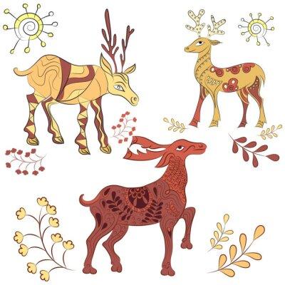 Papiers peints Vecteur décoré cerfs avec des éléments nature. Illustration tirée à la main. Scandinave, style indien. éléments d'ornement