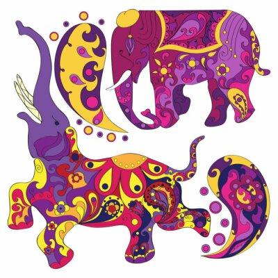 Papiers peints Vecteur, décoré, indien, éléphant