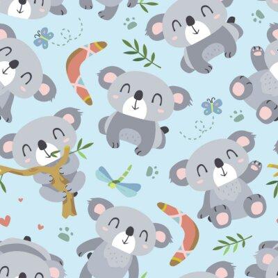 Papiers peints Vecteur, dessin animé, style, koala, seamless, modèle