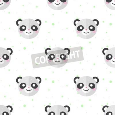 Papiers peints Vecteur drôle plat dessin animé panda tête modèle sans couture. Panda de fond.