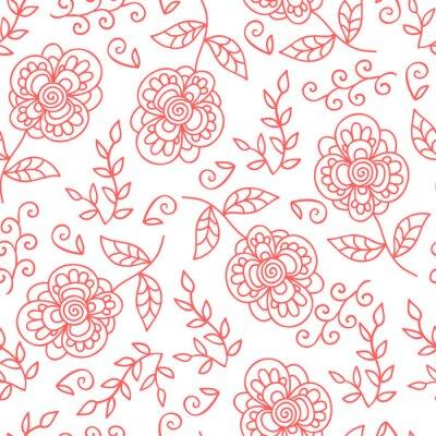 Papiers peints Vecteur, fleur, feuilles, seamless, modèle Fleurs mignonnes de griffonnage.