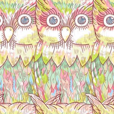 Papiers peints Vecteur, hibou, seamless, modèle. Résumé, mignon, oiseau, fond