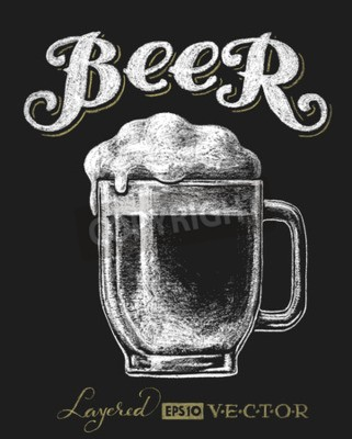 Papiers peints Vecteur, Illustration, craie, bière, verre, tableau noir Eps10. Transparence utilisée. RVB. Couleurs globales. Gradients gratuits. Chaque élément est regroupé séparément
