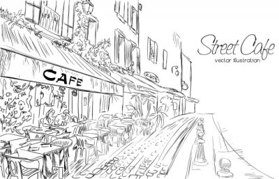 Papiers peints Vecteur, Illustration, rue, café